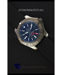 Breitling Avenger II BlackSteel GMT Swiss Replica Watch Nylon Strap 1:1 Mirror Replica Watch