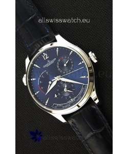Jaeger LeCoultre Master Geographic Power Reserve Steel Case Steel Blue Dial Swiss Replica Watch