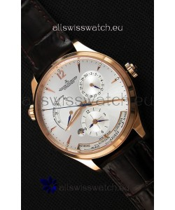 Jaeger LeCoultre Master Geographic Power Reserve Pink Gold Steel White Dial Swiss Replica Watch