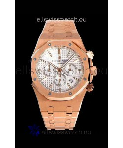 Audemars Piguet Royal Oak Chronograph White Dial Rose Gold on 904L Steel - 1:1 Mirror Replica