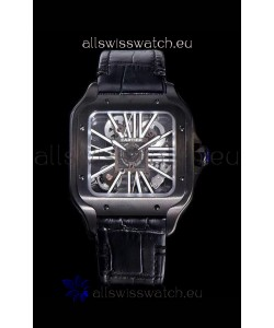 Cartier Santos DUMONT Skeleton Watch in Black DLC Coated Casing Swiss Movement Watch