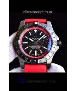 Breitling Chronometre GMT Carbon Dial Swiss Watch with Rubber Strap 1:1 Mirror Replica