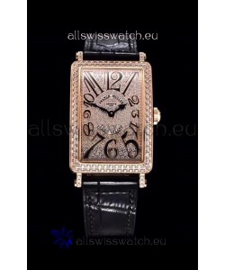 Franck Muller Long Island Color Dreams Pink Gold Swiss Watch in Black Strap