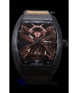 Franck Muller Vanguard Skeleton Tourbillon Black Carbon Swiss Replica Watch