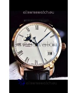 Glashuette Senator Excellence Panorama Date Moon Phase Pink Gold Swiss Watch