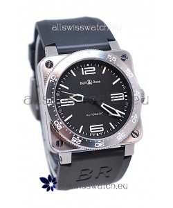 Bell and Ross BR 03 Type Aviation Brushed Steel Swiss Automatic Watch in Black Dial