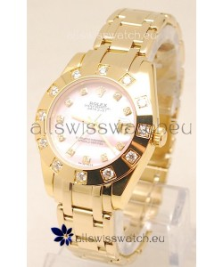 Rolex Datejust Pearlmaster Swiss Replica Gold Watch in Pink Pearl Dial -34MM