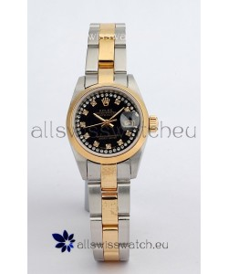 Rolex DateJust - Two Tone Ladies Swiss Replica Watch in Black Dial