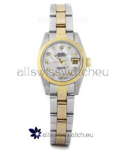 Rolex DateJust - Two Tone Ladies Swiss Replica Watch in White Mother of Pearl Dial
