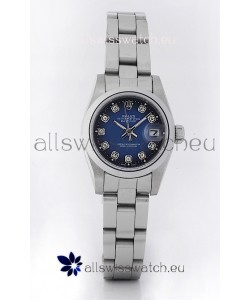 Rolex DateJust - Silver Lady's Swiss Replica Watch in Dark Blue Dial