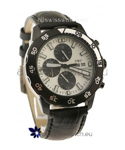 IWC Aquatimer Chronograph Japanese Replica PVD Watch in White Dial
