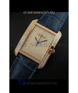 Cartier Tank Anglaise Ladies Replica Watch in Gold Case/Purple Strap