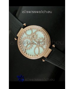 Cartier Replica Watch with Diamonds Embedded Dial Bezel in Gold Case/Black Strap
