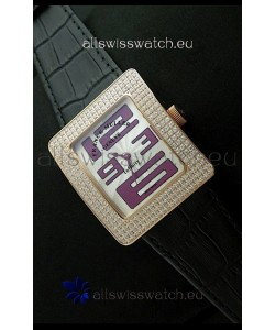 Franck Muller Geneve Infinity Japanese Gold Watch in Purple Numeral Markers