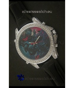 Five Time Zones J&C Imitations Japanese Watch in Full Diamonds