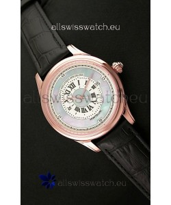 Montblanc Pure Mechanique Horlogere Swiss Replica Rose Gold Watch in Mop Blue Dial
