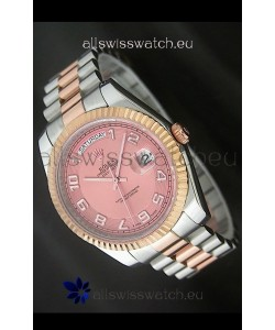 Rolex Oyster Perpetual Day Date II Japanese Replica Watch in Pink Dial