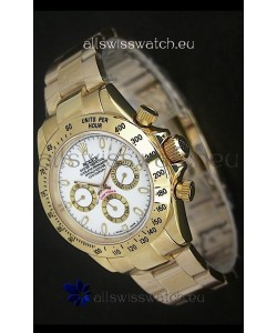 Rolex Daytona Japanese Replica Gold Watch in White Dial