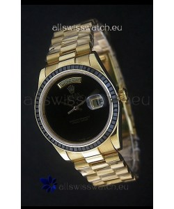 Rolex Day Date Just swiss Replica Yellow Gold Watch in Black Dial
