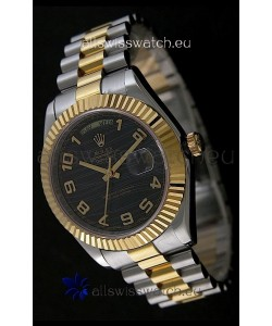 Rolex Datejust Japanese Replica Two Tone Yellow Gold Watch in Black Dial