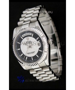 Rolex Day Date Just swiss Replica Watch in Black & White Dial