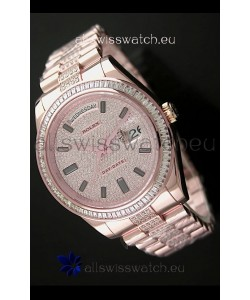 Rolex Day Date Japanese Automatic Rose Gold Watch in Diamond Bracelet
