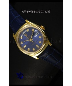 Rolex Day Date 36MM Yellow Gold Swiss Replica Watch - Dark Blue Dial