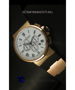 Ulysse Nardin Marine Chronograph Rose Gold White Roman Black Dial - 1:1 Mirror Replica