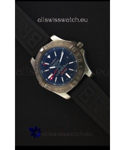 Breitling Avenger II BlackSteel GMT Swiss Replica Watch Rubber Strap 1:1 Mirror Replica Watch