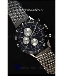 Breitling Chronoliner Steel-Black Mesh Strap in Black Dial Swiss Replica Watch