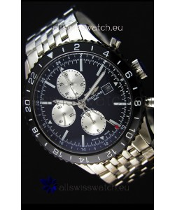 Breitling Chronoliner Steel-Black Steel Strap in Black Dial Swiss Replica Watch