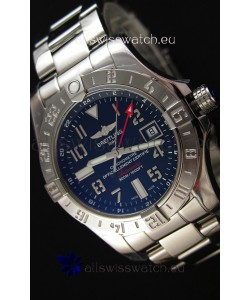 Breitling Avenger II GMT Swiss Replica Watch in Black Dial Steel Strap 1:1 Mirror Replica Version