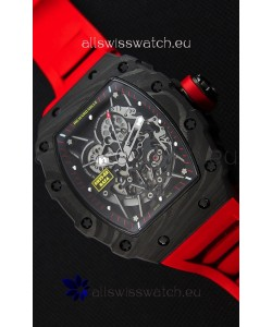 Richard Mille RM35-2 Rafael Nadal Forged Carbon Case with Red Rubber Strap