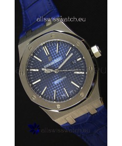 Audemars Piguet Royal Oak 41MM Blue Dial Leather Strap - 1:1 Mirror Ultimate Edition