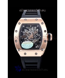 Richard Mille RM035 AMERICAS 18K Rose Gold Replica Watch in Black Strap
