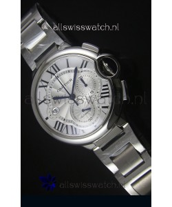 Ballon De Cartier Chronograph in Stainless Steel Case White Dial - 1:1 Mirror Replica