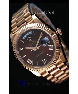 Rolex Day-Date 40MM Rose Gold in Brown Dial Roman Numerals Swiss Watch