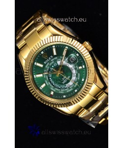 Rolex SkyDweller Swiss Watch in 18K Yellow Gold Case - DIW Edition Green Dial