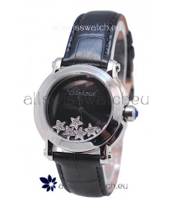 Chopard Happy Sport Star Shaped Diamonds Swiss Watch in Black Strap