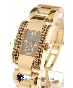 Chopard La Strada Swiss Ladies Replica Pink Gold Watch in Black Dial