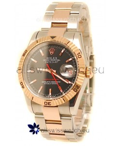 Rolex Datejust Turn O Graph Japanese Rose Gold Watch in Black Dial