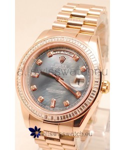 Rolex Day Date II Rose Gold Japanese Watch in Pearl Dial