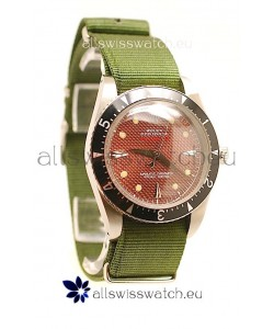 Rolex Submariner Swiss Watch in Green Nylon Strap Red Dial
