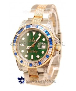 Rolex GMT Masters II 2011 Edition Swiss Replica Two Tone Watch with Diamonds Casing and Bezel