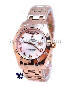 Rolex Day Date White Mother of Pearl Japanese Replica Watch in Roman Markers