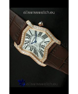 Cartier Tank Folle Ladies Replica Watch in Yellow Gold Case/Brown Strap