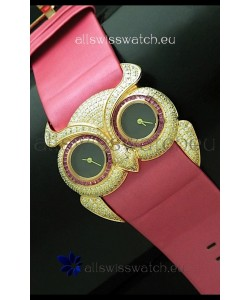 Chopard Animal World Ladies Owl Black Full Diamond Watch in Black Dial