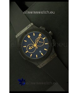 Hublot Big Bang Classic Fusion Chrono Japanese Watch with Yellow Markers Ceramic Case