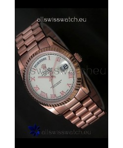 Rolex Day Date Japanese Rose Gold Watch in White Dial
