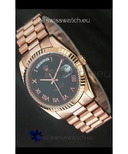 Rolex Day Date Japanese Rose Gold Watch in Black Dial
